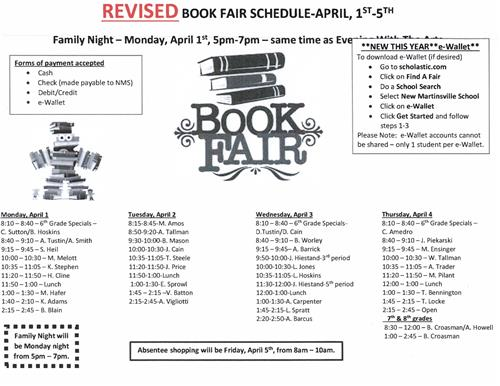 Revised Book Fair Schedule