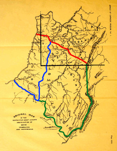 West Augusta 1775:  Area from which Ohio, Marshall, Wetzel, and Tyler Counties will be carved.